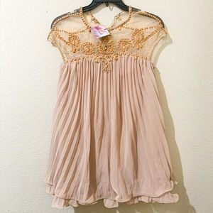 Chicwish Embellished Beaded Dolly Nude Pink Dress